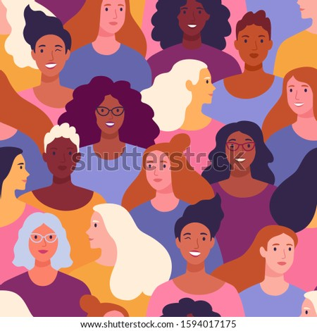 International Women's Day pattern. Vector seamless pattern with multinational diverse group of women in trendy cartoon flat style.