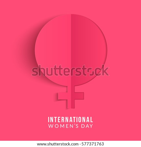 International women's day poster. Woman sign. Origami design template. Happy Mother's Day. Eps10 vector illustration with place for your text.