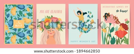 International Women s Day. Set of vector templates with cute women and flowers for card, poster, flyer and other users