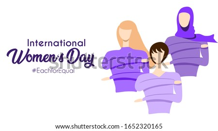 International women's day 2020 theme : each for equal. Women of different ethnics do the sign of the campaign. Purple or violet theme. Vector illustration. flat design