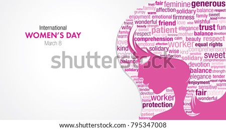 International Women's Day title with a silhouette of a woman's face and a cloud of words inside the silhouette in pink and violet colors on a white background