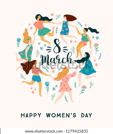 International Women s Day. Vector template with cute women for card, poster, flyer and other users