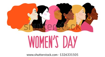 International Women`s Day. Vector template with women different nationalities and cultures. Women look the same way. Feminism. Vector illustration.