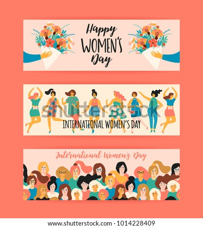 International Women's Day. Vector templates for banner, card, poster, flyer and other users