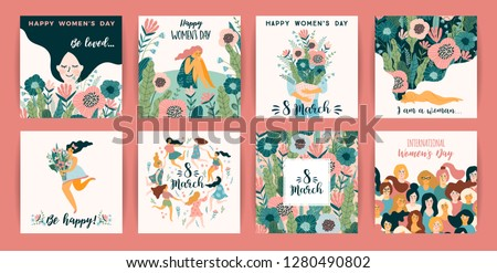 International Women s Day. Vector templates with cute women for card, poster, flyer and other users