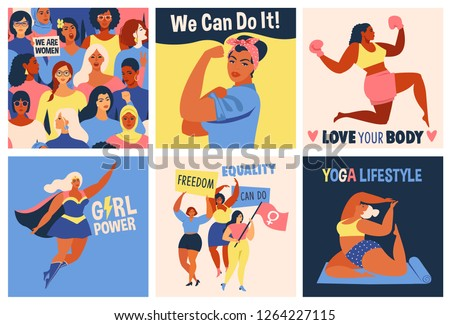 International Women's Day. We Can Do It poster. Strong girl. Symbol of female power, woman rights, protest, feminism. Vector colorful banners woman in retro style.