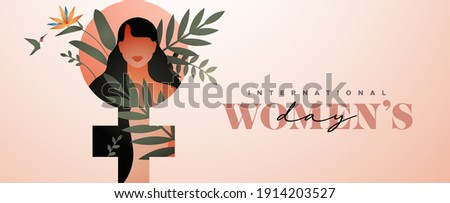 International Women's Day web banner illustration. Beautiful young woman character with modern nature decoration and tropical flower inside female symbol for march 8 celebration event.