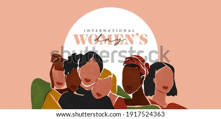 International Women's Day web banner illustration. Diverse women of different cultures and age. Modern abstract art female friends character portrait for social holiday event.