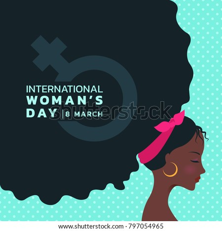 international women's day with african lady Curly hair and woman sign banner vector design