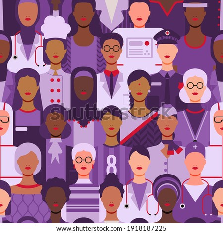 International Women's Day. Women in leadership, empowerment, gender equality concepts. Seamless pattern. Crowd of women of diverse age, races and occupation. Vector illustration background.