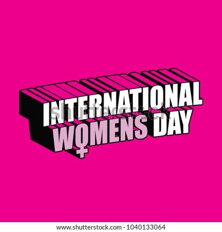 International Womens Day dimensional text design. EPS10 vector illustration.