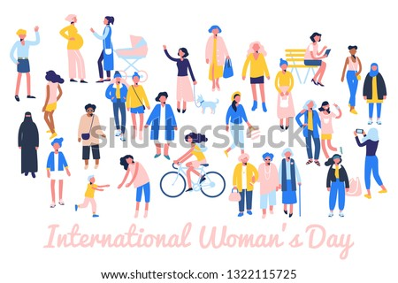 International womens day 8 March, women empowerment movement. Crowd of female different characters of diverse ethnicity and age.