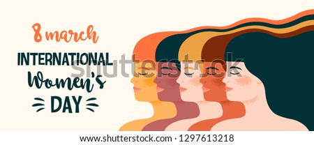 International Womens Day. Vector illustration with with different women. Struggle for freedom, independence, equality.