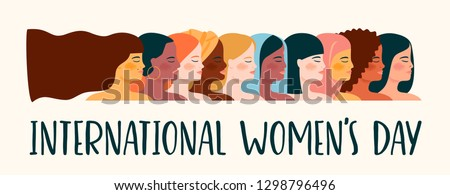 International Womens Day. Vector illustration with women different nationalities and cultures. Struggle for freedom, independence, equality. #1298796496