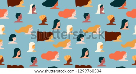 International Womens Day. Vector seamless pattern with with women different nationalities and cultures. Struggle for freedom, independence, equality.