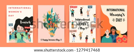 International Womens Day. Vector templates with women different nationalities and cultures. Struggle for freedom, independence, equality. #1279417468