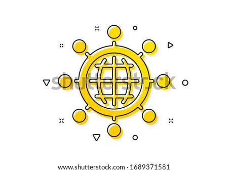 International work symbol. Business networking icon. Global communication sign. Yellow circles pattern. Classic international globe icon. Geometric elements. Vector