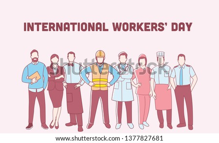 international Worker's day . Labor Day Poster With People Of Different Occupations, diverse workers of various professions and specialists.