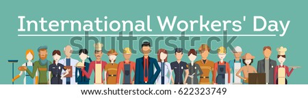 International worker's day. People with different jobs as plumber, doctor and more.