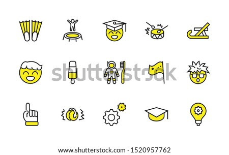 International World Day of Children's Inventions Set Line Vector Icon. Contains such Icons as Toothbrush astronauts, Trampoline, Flippers, Frozen juice, earmuffs. Editable Stroke. 32x32 Pixel Perfect