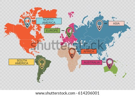 Vector de mapas de continentes del mundo descargue grficos y international world map with abstract colorful pointers on checkered background infographic template vector concept gumiabroncs Gallery