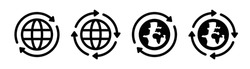 International, world, worldwide, globalisation, global business icon vector isolated on white. Symbol illustration