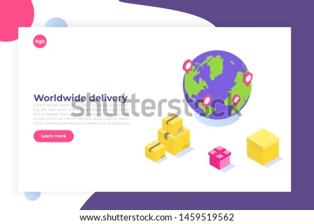 International Worldwide delivery, Global logistic, freight shipping isometric concept. Vector illustration