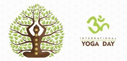International Yoga Day banner illustration of woman silhouette, chakra icons and tree leaves for nature connection concept.
