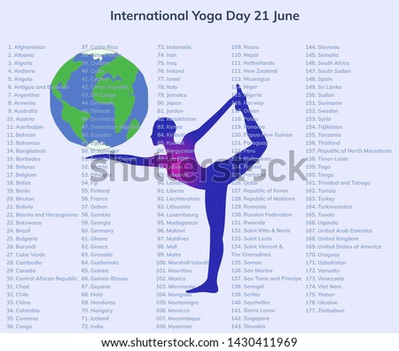 International Yoga Day 21 June for the world with an earth and a shiva dance pose on a background with the 177 countries who co-sponsored the UN resolution