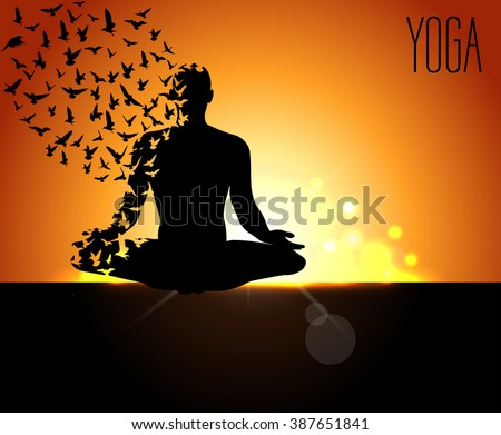 International Yoga Day Pose With Birds Meditation Apparel Print Textured T
