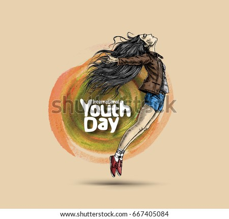 International Youth day,12 August, Hand Drawn Sketch Vector illustration.