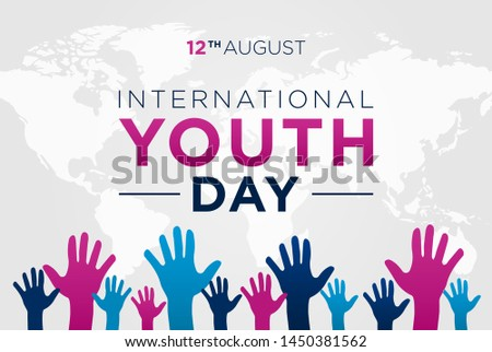 International Youth Day Background Vector with Hands