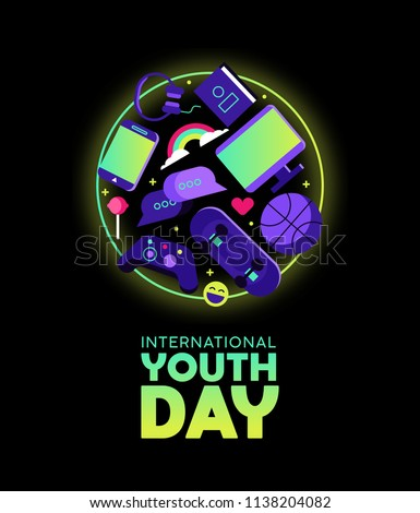 International Youth Day web banner for special holiday event. Modern teen leisure activity icons include social network symbols, gaming controller and sports ball. EPS10 vector.