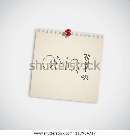 """Internet Acronym """"OMG""""  Oh My God On Sticky Note Vector"""