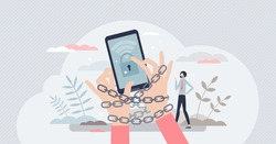 Internet addiction problem as attached to phone habit tiny person concept. Excessively time spend on social media or network as psychological mental chain or cyberspace addict risk vector illustration