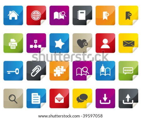 Internet and Blogs Icon Set. Tag and Label Style