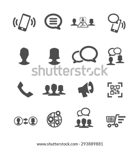 Internet and Communication icons set, Vector