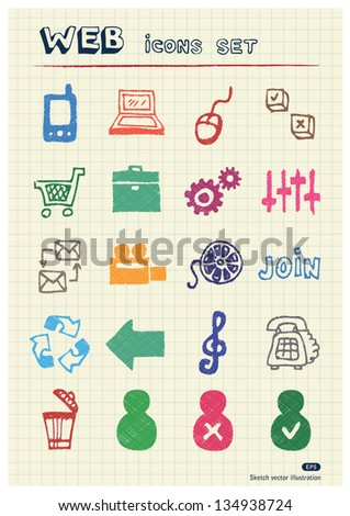 Internet and media icons set drawn by color pencils. Hand drawn vector elements pack isolated on paper