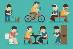 Internet and smartphone addiction , eps10 vector format