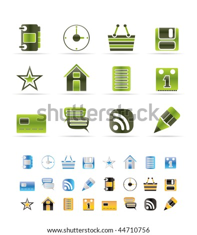 Internet and Website Icons - Vector Icon Set - 3 colors included