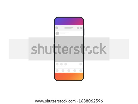 Internet application interface on a smartphone screen. Smartphone with carousel interface post on social network. Minimal design. Vector illustration.