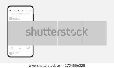 Internet application on the screen of a real smartphone. Post carousel on social media. Vector illustration.