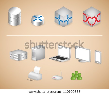 Internet Architecture Symbols and Devices - stock vector