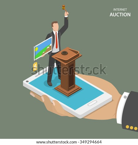 Internet auction isometric flat vector concept. Mans hand holds a mobile phone with auctioneer which sells a painting.