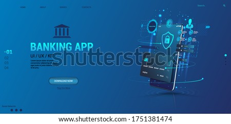Internet banking app. Mobile phone payment with NFC technology and High level payment security. Wireless cash transaction technology and money storage. Wallet with cards UI App and E-payment. Vector