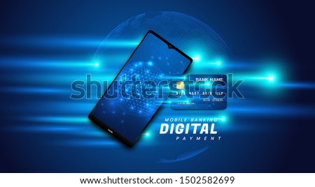 Internet banking concept. Mobile phone banner. Online payment, transaction via credit card. Wireless pay through phone. Digital technology transfer pay.