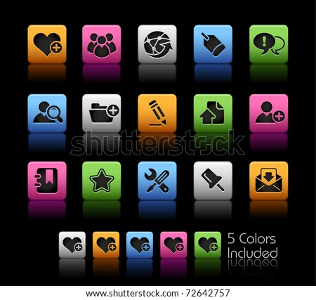 Internet & Blog Icons // Color Box -------It includes 5 color versions for each icon in different layers --------- - stock vector