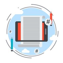 Internet blogging, website content flat design style vector concept illustration