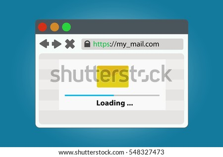 Internet browser window with a progress bar of data loading mail. In a simple modern style on isolated background.