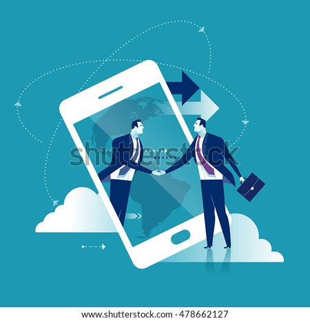 Internet Business. Businessmen shaking hands through display of a big smart phone. Business concept vector illustration.